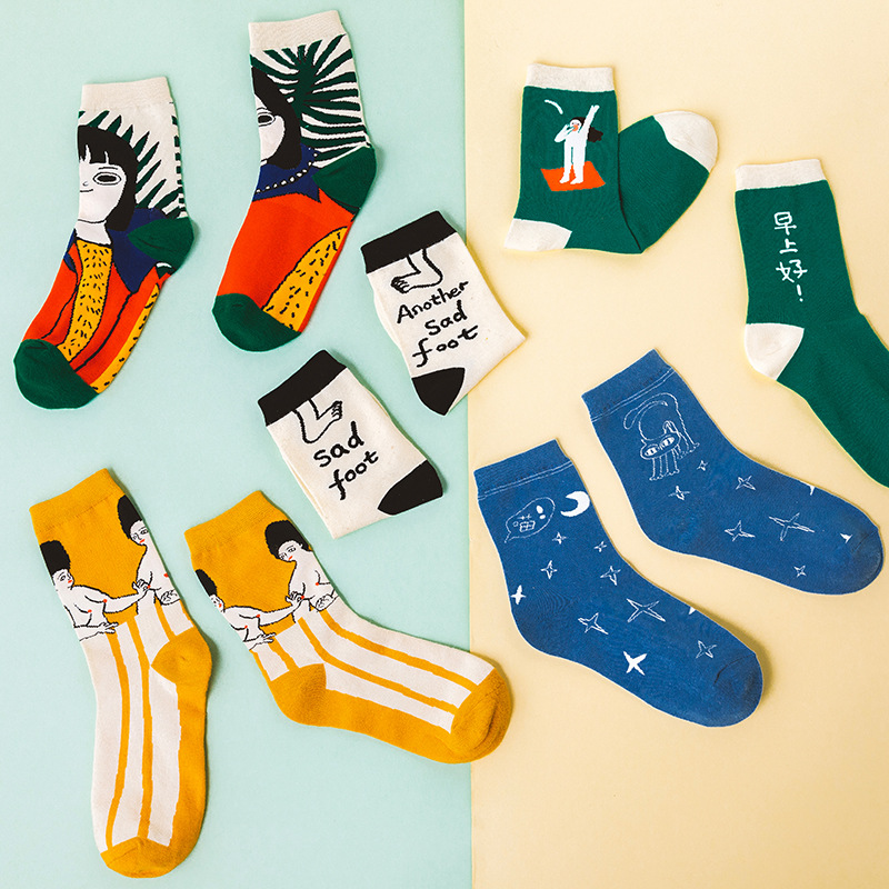 2Pairs/Set Hot Sell Funny Cartoon Girl Patterned Women Cotton Socks Women Short Hipster Casual Creative Socks Art Funny Sox