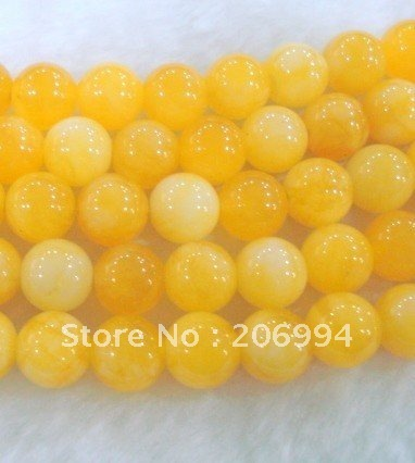 "Wholesale 8mm Yellow Chalcedony jade Loose Beads 15 "" 3pcs/lot free shipping"