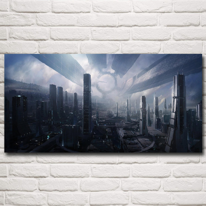 FOOCAME Mass Effect 2 3 4 Hot Shooting Action Game Art Silk Poster Pictures Bedroom Living Room Wall Decor 12x24 15x30 Inches(China)