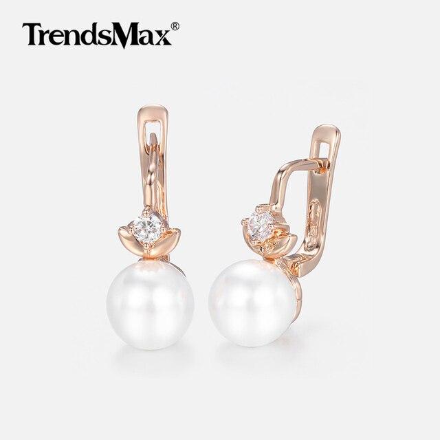 136d8177a Pearl Earrings For Women Girls 585 Rose Gold Cubic Zirconia Earrings  Women's Hot Party Wedding Jewelry Gifts For Women KGE174