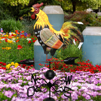 130cm Height Colorful Cock European Traditional Painted Cock Wind Vane Flower Insert Country Style For Home Garden Decoration