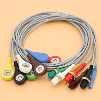 1 5mm wtyczka din Holter EKG EKG 7 realizacji snap kabel elektrody i EEG EMG gniazdo dla Medilog contec GE biomedycznych Biox holter EKG tanie i dobre opinie CN (pochodzenie) Holter ECG EKG 7 Leads Soft TPU 90cm(Custom length) 1P Din 1 5mm