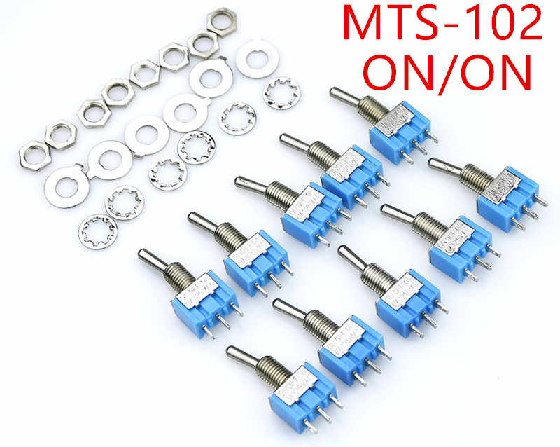 10 Buah/Banyak Biru Mini MTS-102 3-Pin SPDT On-On 6A 125VAC Mini Toggle Switch MTS-103 3- pin On-Off-On