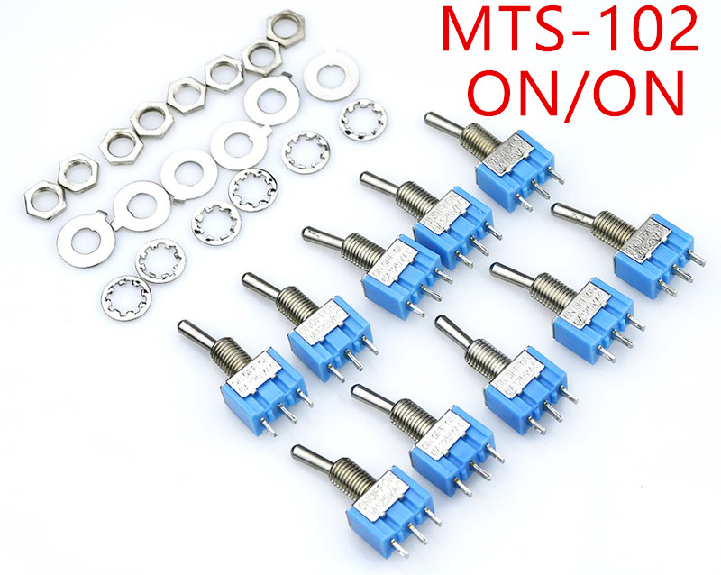 цена на 10pc/LOT Blue Mini MTS-102 3-Pin SPDT ON-ON 6A 125VAC Miniature Toggle Switches