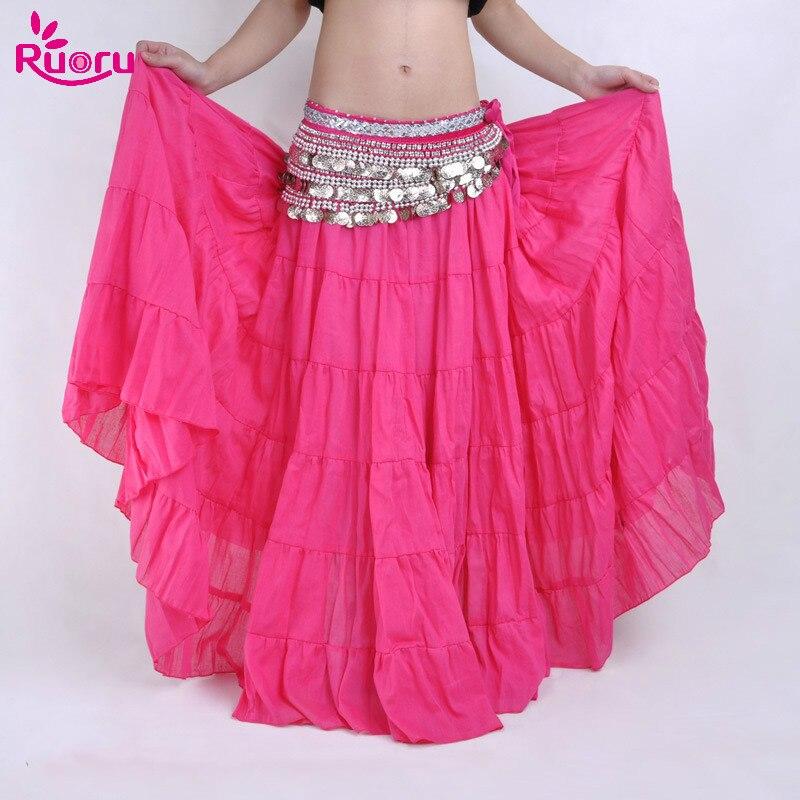 Ruoru 100% Linen Belly Dance Gypsy Skirt Dancing Dress Gitana Tribal 15 Colors Bellydance Costume Women