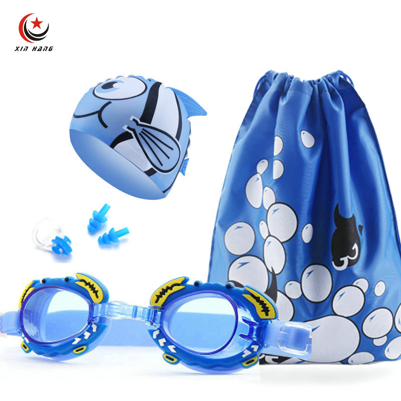 A Set 4pcs Boys Swimming Goggles Cap Waterproof Anti-fog UV Protection Girls Swim Glasses Kids Children Cartoon Pool Eyewear Bag