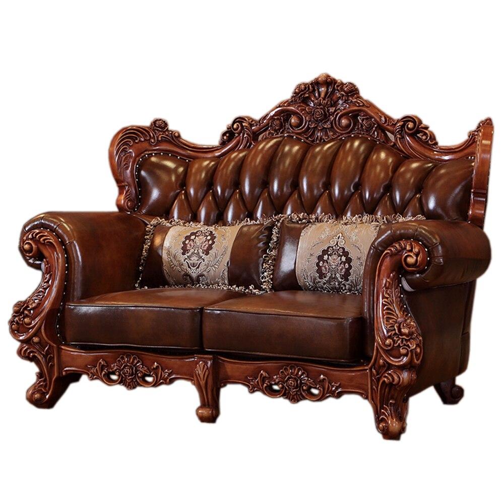 Mobilya'ten Oturma Odası Setleri'de Lüks klasik Avrupa ve Amerikan tarzı mobilya seti Modern deri kanepe mermer merkezi masa TV standı Oturma Odası Mobilya