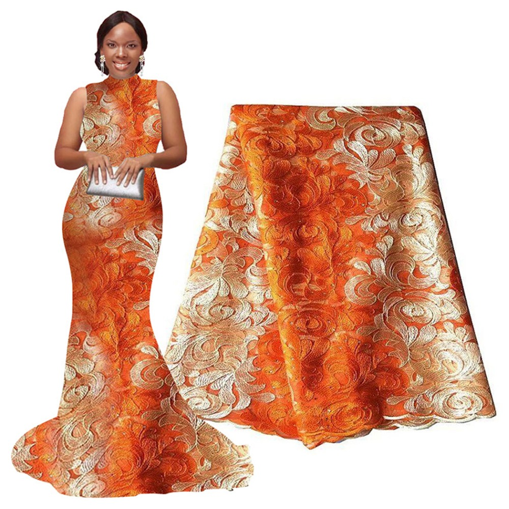african lace fabric orange