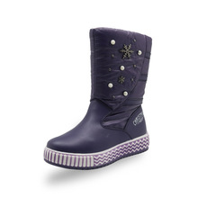 ULKNN Girls boots 2018 winter new children's shoes warm waterproof non-slip pu leather Kids thick snow boots 2018 new russia winter children s snow boots boys girls fashion waterproof warm shoes 30 degree kids thick mid non slip boots
