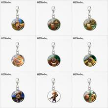 2019 HZSHINLING New Fashion Round Charms Stainless Steel Charms Boonie Bears Cartoon Bear Infested Glass Pendants Jewelry(China)