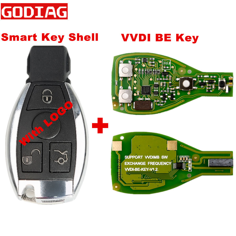 With LOGO Xhorse VVDI BE Key Pro Improved Version And For Benz Smart Key Shell 3 Button For Mercedes Benz 3 Button Key Shell