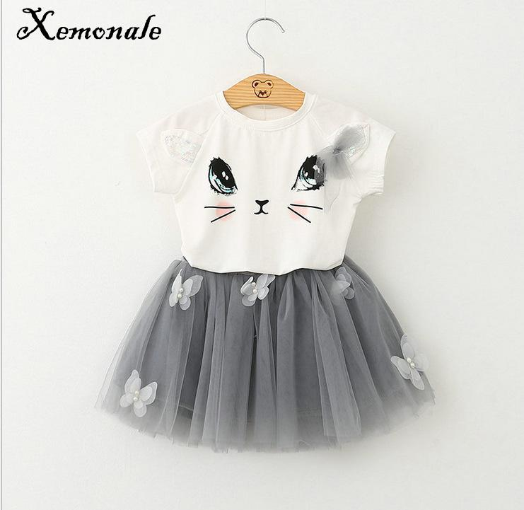 Xemonale Girls clothing sets Cute Cat Cartoon Fluffy Style Silk New Summer 2Pcs Suit shirt Skirt 2017 Clothes Sets