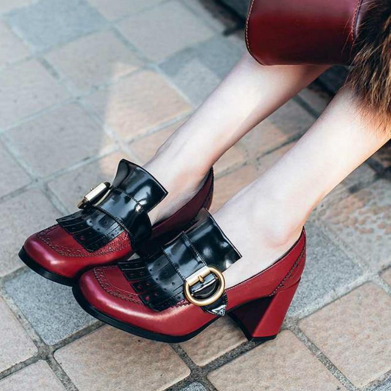 ФОТО 2017 New Fashion Women Brand Shoes High Heel Genuine Leather Metal Buckle Tassel Hollow Slip on Women Pumps Office Lady Shoes 18