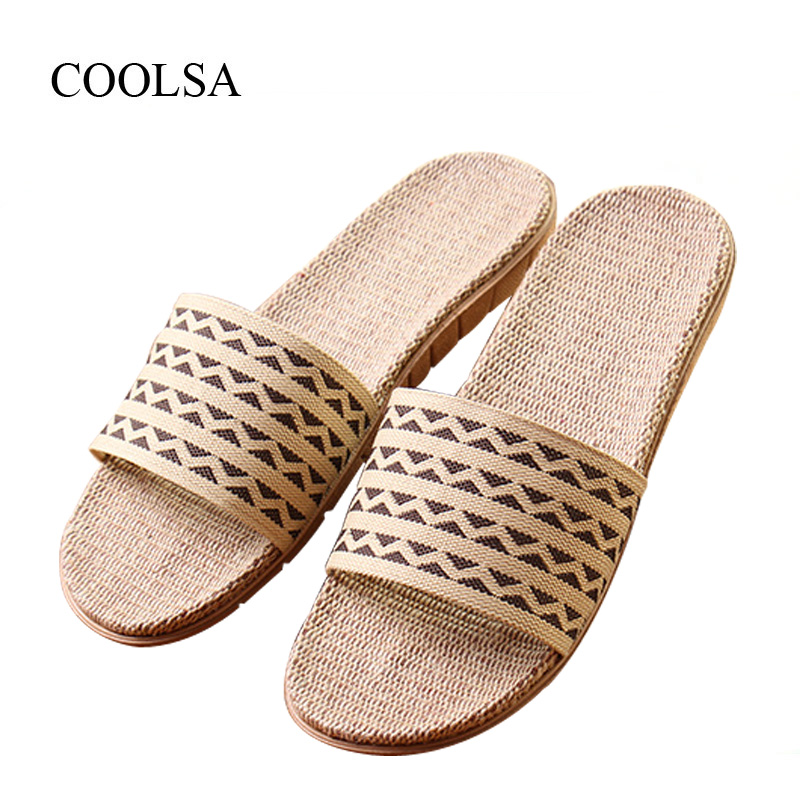 COOLSA Men's Spring Flat Canvas Non-slip Linen Slippers Breathable Indoor Flax Slippers Beach Flip Flops Men's Slides Pantufas coolsa women s summer flat cross belt linen slippers breathable indoor slippers women s multi colors non slip beach flip flops