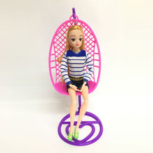 Plastic Swing Chair Doll Dollhouse Miniature Furniture Toys Doll House Decoration Kid's Play House Toys Handmade(China)