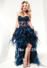 2013 Dress Brand Design Prom Sweetheart A-Line Organza Applique Ruffle Beads Flycool Hi-Lo R-112
