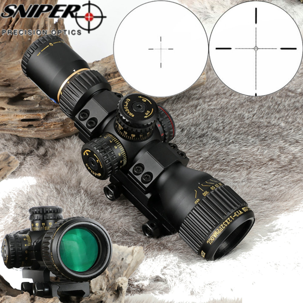 SNIPER VT 3-12X32 Compact First Focal Plane Hunting Rifle Scope Glass Etched Reticle Tactical Optical Sight FFP Riflescopes 2 5 15x50 ffp red illuminated mil dot rifle scope close range aim hunting shooting the first focal plane reticle optical sight