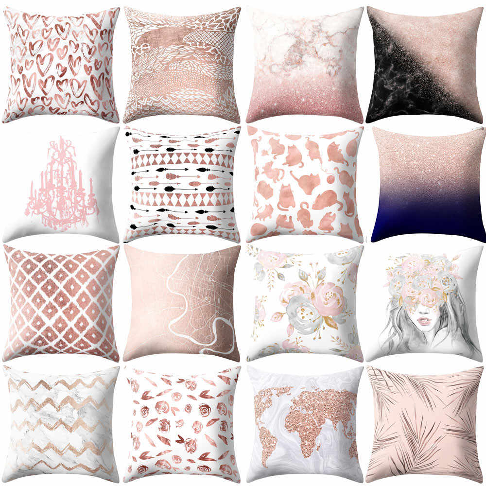 Cojines Decoracion Detail Feedback Questions About Rose Gold Pink Cushion Cover