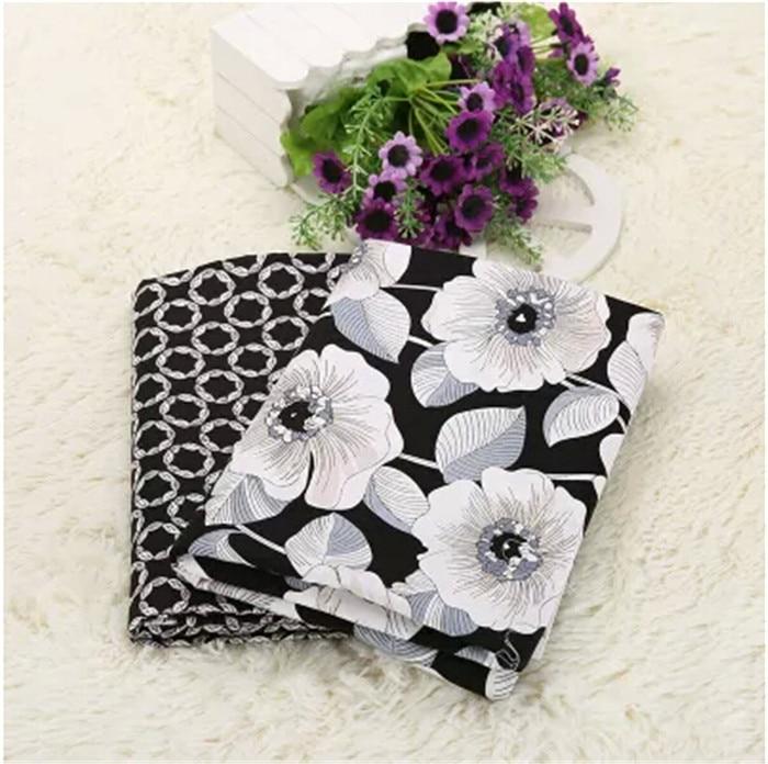 Negro Floral Blanco Serie 100% Tela Del Remiendo Del Algodón de Impresión Sin Fo
