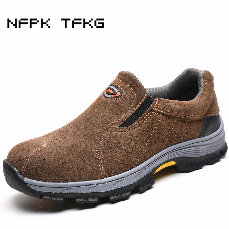 big size mens fashion steel toe caps working safety shoes slip on platform anti puncture cow suede leather factory site boots-in Work & Safety Boots from Shoes    2