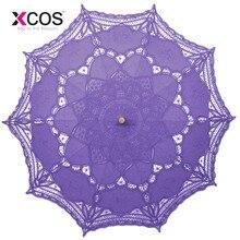 Винтажный фиолетовый синий красный черный белое, цвета слоновой кости кружево ручной свадебный зонтик Свадебный зонтик аксессуары для свадьбы дешево