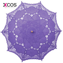 Vintage Purple Blue Red Black White Ivory Lace Manual Wedding Umbrella Bridal Parasol Umbrella Accessories For Wedding Cheap