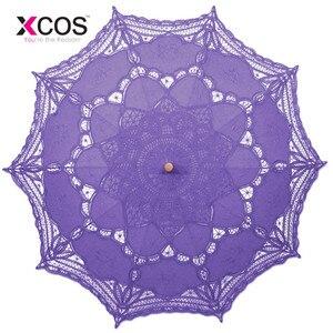 Image 1 - Vintage Purple Blue Red Black White Ivory Lace Manual Wedding Umbrella Bridal Parasol Umbrella Accessories For Wedding Cheap