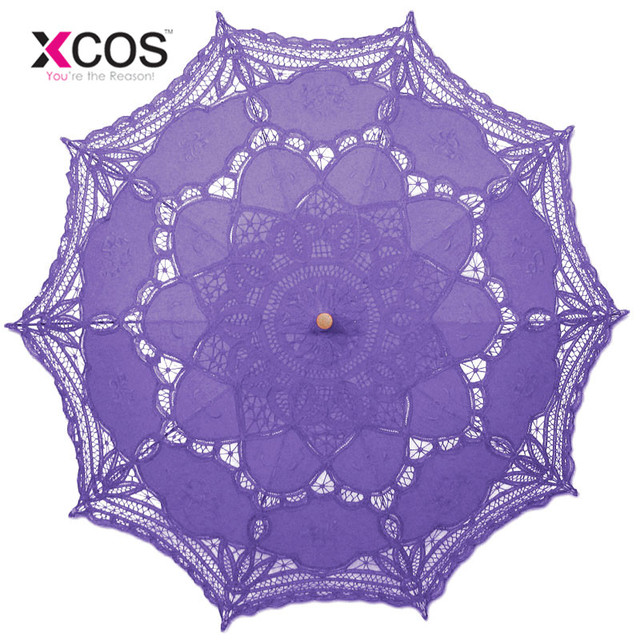 Vintage Purple Blue Red Black White Ivory Lace Manual Wedding Umbrella Bridal Parasol Umbrella Accessories For Wedding Cheap