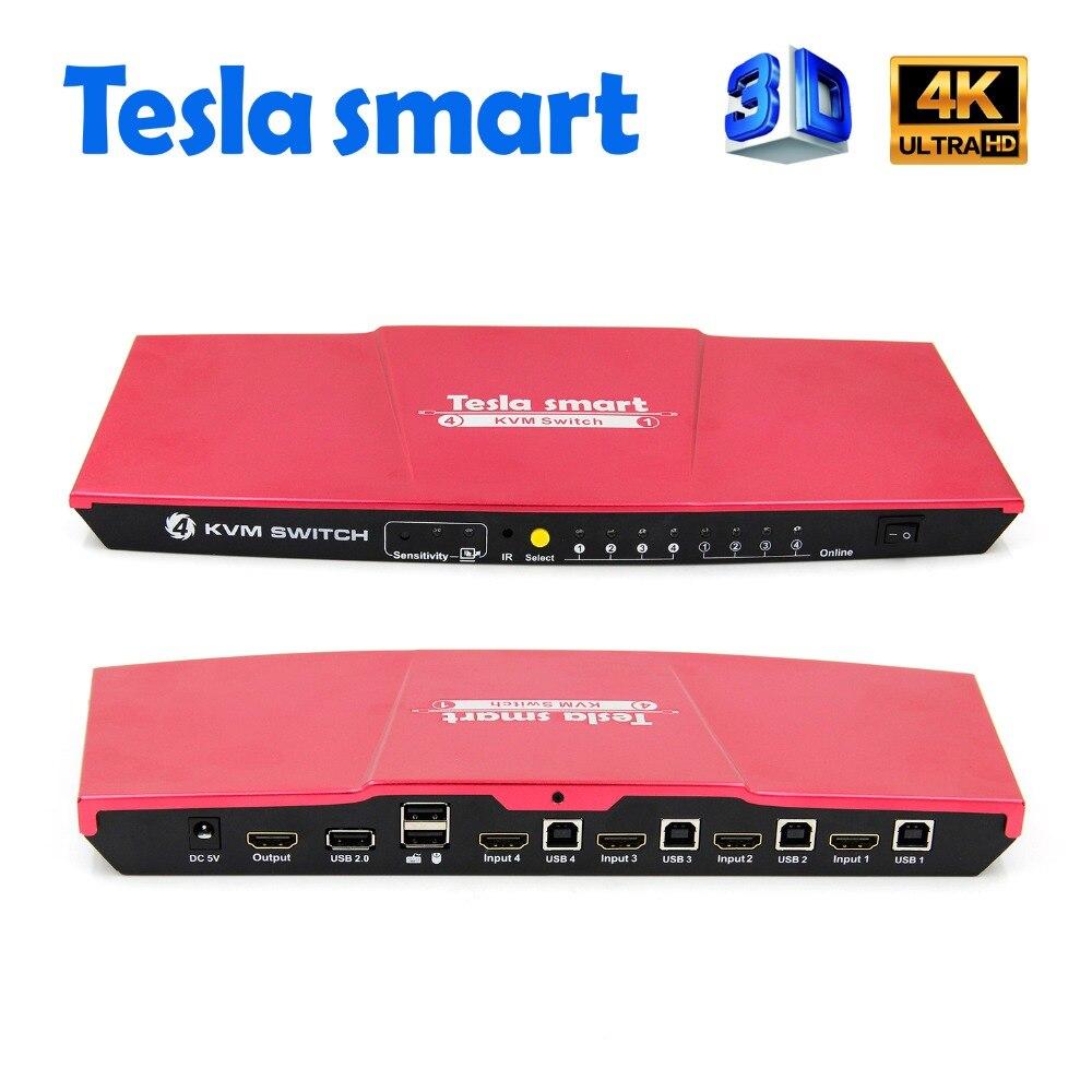Tesla smart Rouge Haute Qualité USB HDMI Commutateur KVM 4 Port USB KVM Commutateur HDMI Soutien 3840*2160/ 4 k * 2 k Supplémentaire USB2.0 Port