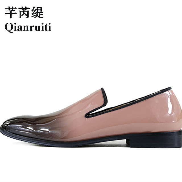 separation shoes d862d f8d31 US $74.88 |Qianruiti Men's Dandelion Flat Slip on Loafers Pink and Black  Patent Leather Gradient Wedding Shoes for Men EU39 EU46 -in Formal Shoes  from ...