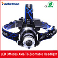 Cree T6 3 Modes 3000 Lumens Waterproof LED Headlight Adjustable Zoomable Head Lamp Head Light Lantern lampe frontale For Hunting