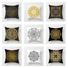 Fuwatacchi Floral Cushion Cover Gold  Mandala Black Golden Throw Pillow Decorative Sofa Pillowcase