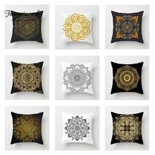 Fuwatacchi Floral Cushion Cover Gold  Mandala Black Golden Throw Pillow Decorative Sofa Pillowcase