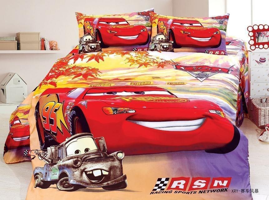 Taille unique éclairage McQueen cars pour enfants housse de couette 3/4 pièce drap housse 90x190 cm chambre décor disney taie d'oreiller linge de maison