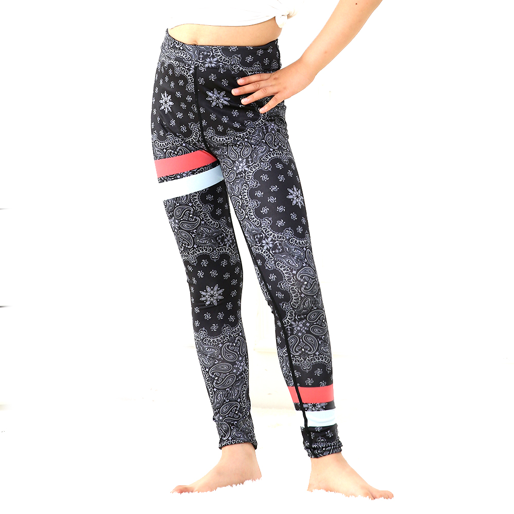 Love Spark Vintage Floral Print Dark Grey Sport Pants Girls 6 To 12 T Kids Running Gym Yoga Leggings