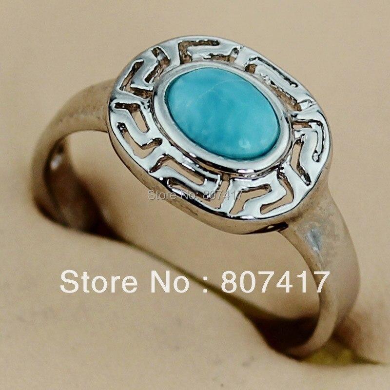 SHUNXUNZE Vintage Noble Generous Larimar titanium rings Jewelry & Accessories women Flash sale Rhodium Plated R3511 size 6 7 8 9