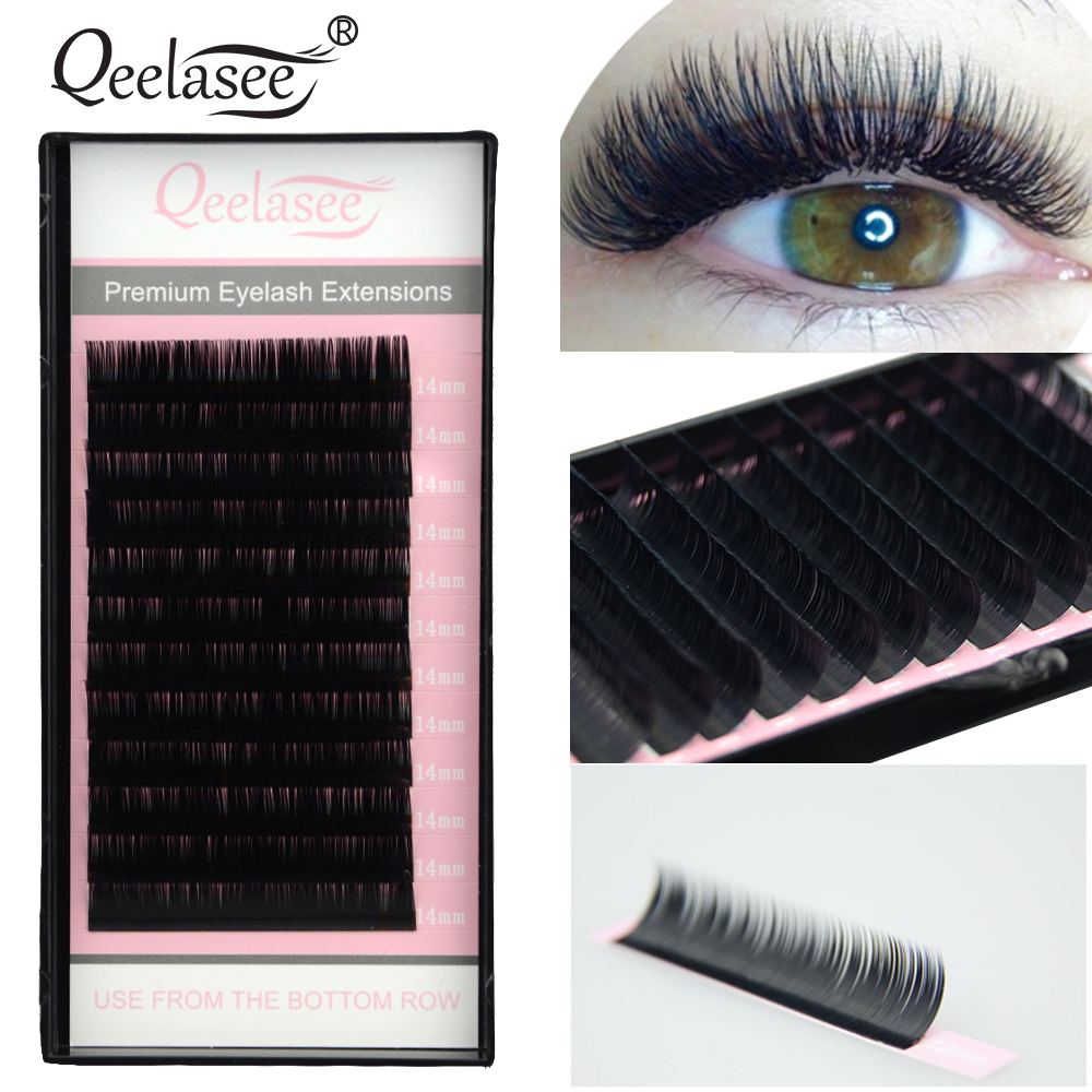 Qeelasee faux mink individual eyelashes maquiagem cilios makeup soft mink lashes for eyelash extension