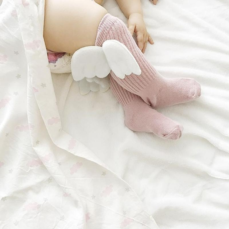 Newborn Baby Knee High Socks Cute Wings Pattern Stocking Cotton Blend Infant Boy Girls Long Socks Toddler Winter Warm Socks
