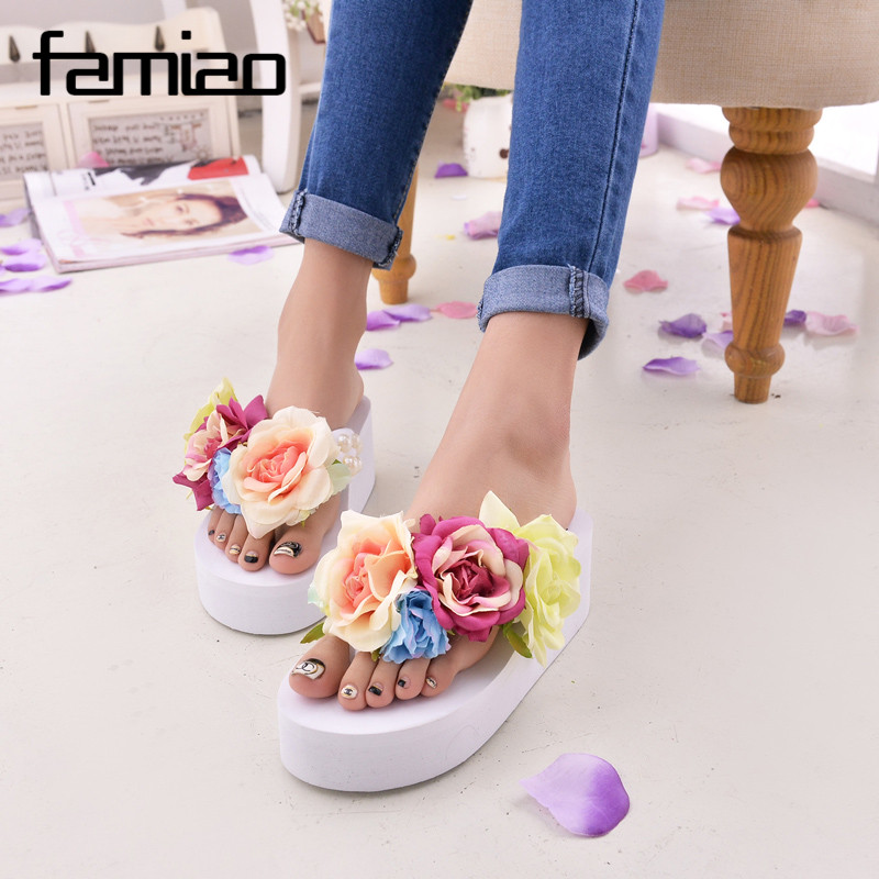 New Women Sandals Fashion Flower Summer Sandals Wedges Flip Flops Platform Slippers Shoes slippers zapatillas chinelo