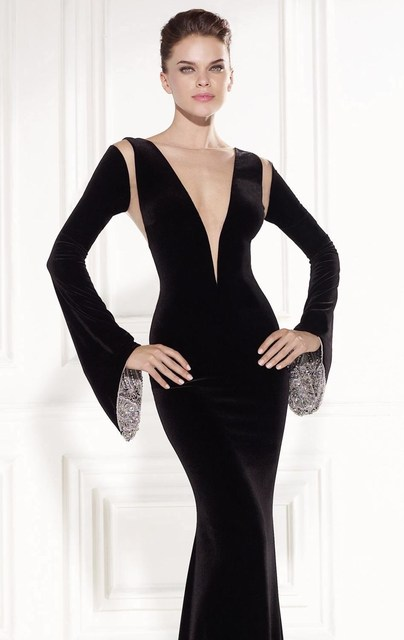 2015 Astonishing Bell-Shaped Long Sleeve Evening Dress Mermaid Velvet  Plunging V Neck Long Prom Party Gowns Vestido De Formatura 81fff524da38