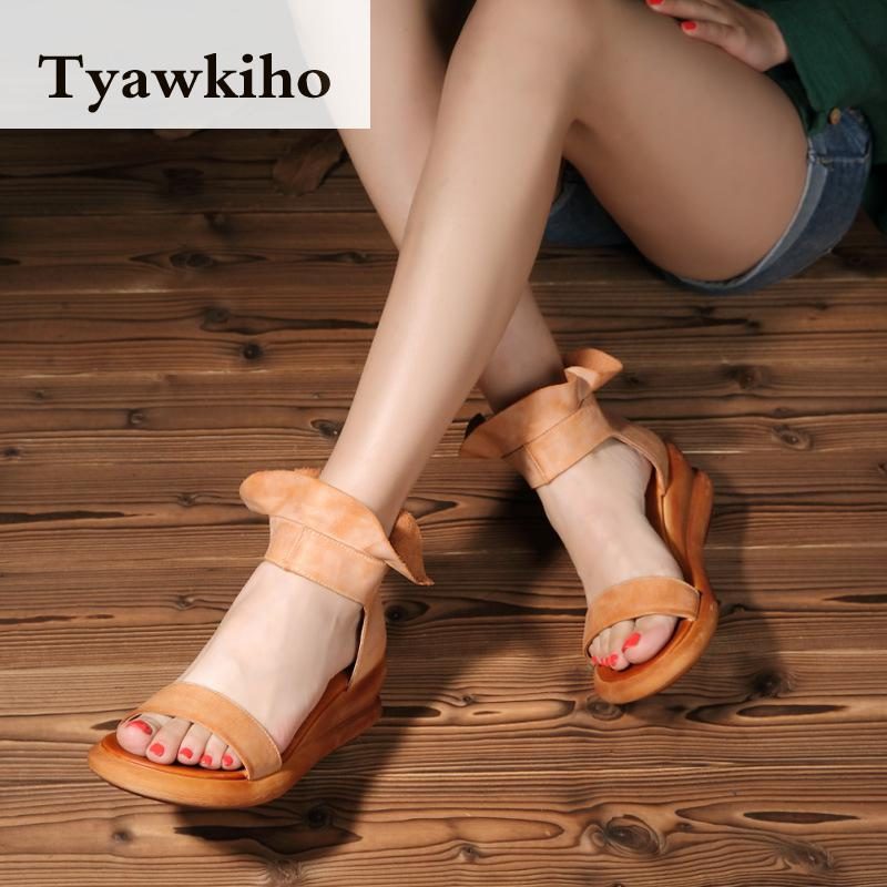Tyawkiho Genuine Leather Women Sandals Ankle Strap Summer Shoes Leather Sandals 7 CM High Heels Wedge