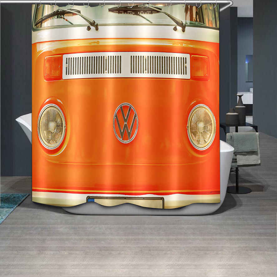 CHARMHOME Car Style Fabric Waterproof Bathroom Shower Curtain Waterproof Polyester Fabric Bath Curtain Big Size with 12 Hooks