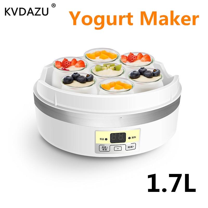 Electric Yogurt Maker Stainless Steel Liner Automatic Mini Yogurt Machine cups for yogurt kitchen appliances DIY Tool Glass cup