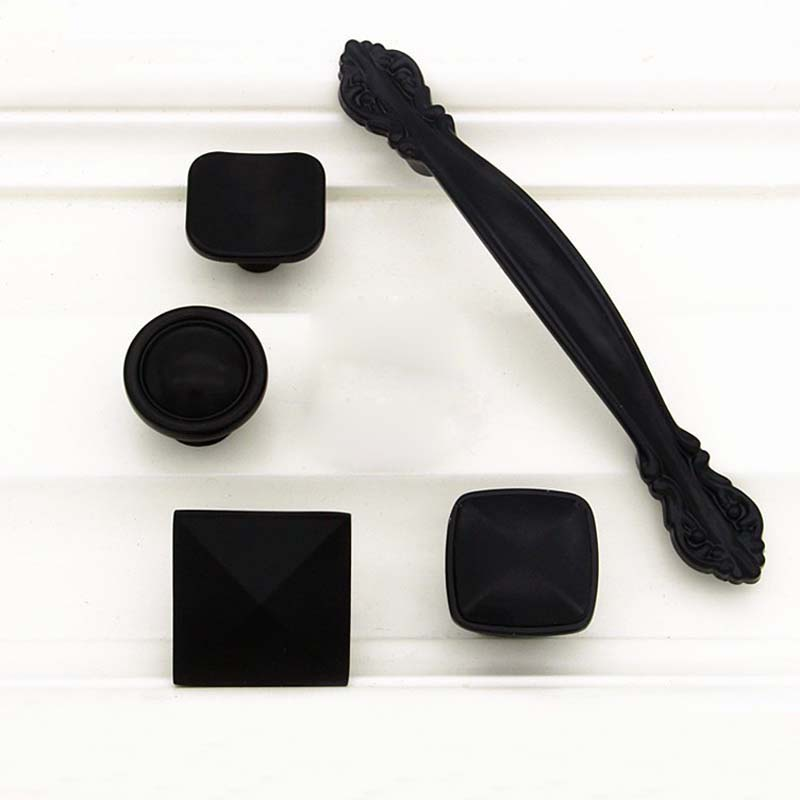 MEGAIRON Classice Black Single Hole Wardrobe Cabinet Door Cupboard Drawer Kicthen Pull Handle Knob Furniture Hardware