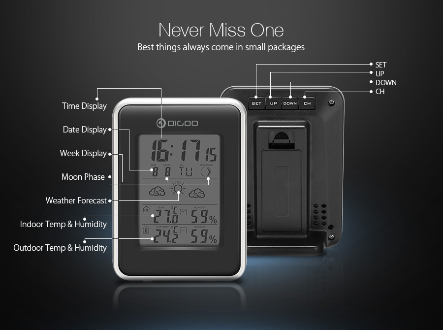 Digoo DG-TH1981 Weather Station Blue Backlit Hygrometer Thermometer Outdoor Forecast Sensor Clock