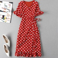 Belt Ruffles Wrap V Neck Dress Polka Dot petal Sleeve Dress Summer chiffon slim dress