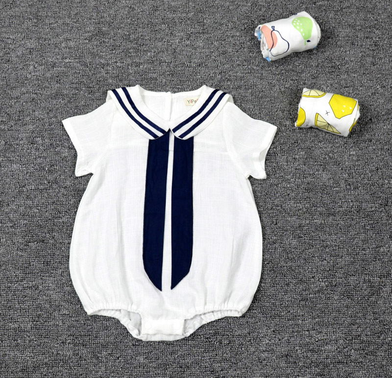 Retail New fashion Summer Newborn navy style baby   romper   suit kids boys girls linen   romper   body summer short-sleeve sailor suit