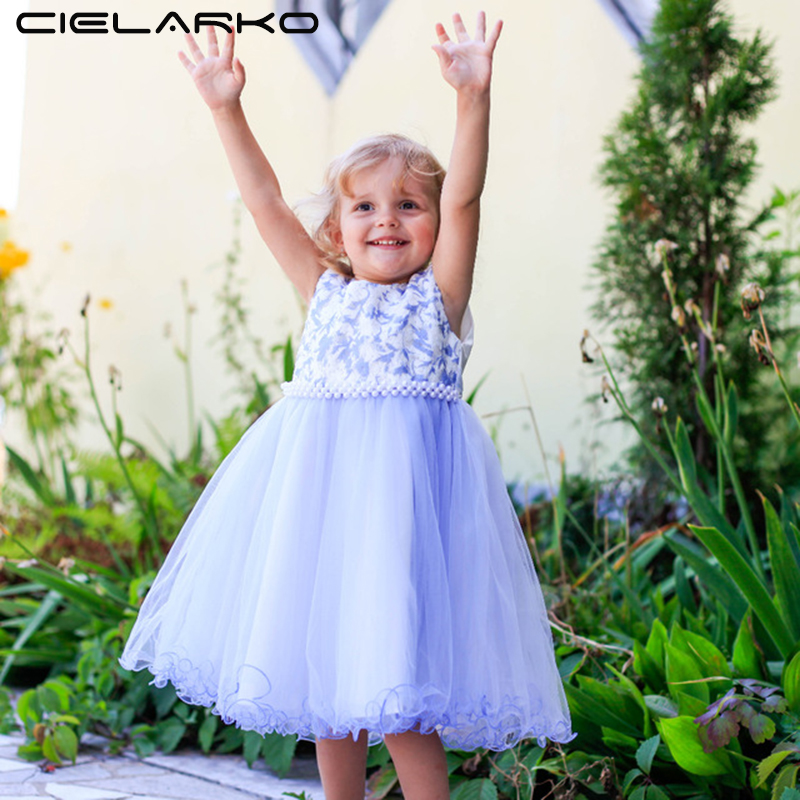 Cielarko Flower Girls Party Dress Elegant Wedding Prom Kids Dresses Formal Floral Ball Gown Brand Toddler Dress for Birthday цена 2017