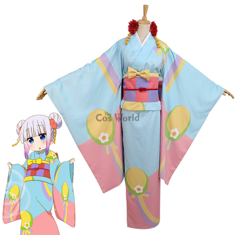 Miss Kobayashi's Dragon Maid Kamui Kanna Kimono Yukata Dress Uniform Anime Pakaian Kostum Cosplay