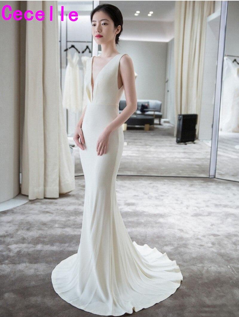 Robe de marie profonde col en V Sexy Simple Boho robe de mariée avec bretelles bas dos informel bohème robe de mariée vestido de noiva